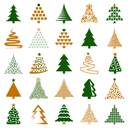 Christmas tree icon collection - vector illustration Illustration