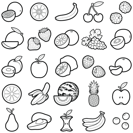 Fruit icon collection - vector outline illustration