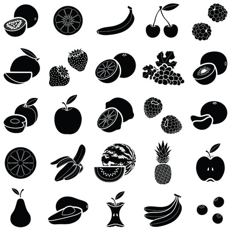 Fruit icon collection - silhouette vector illustration