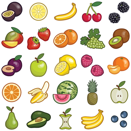 Fruit icon collection - vector color illustration