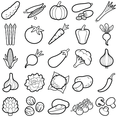 Vegetable icon collection - outline vector illustration Ilustracja