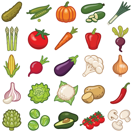 Vegetables icon collection - vector color illustration Illustration