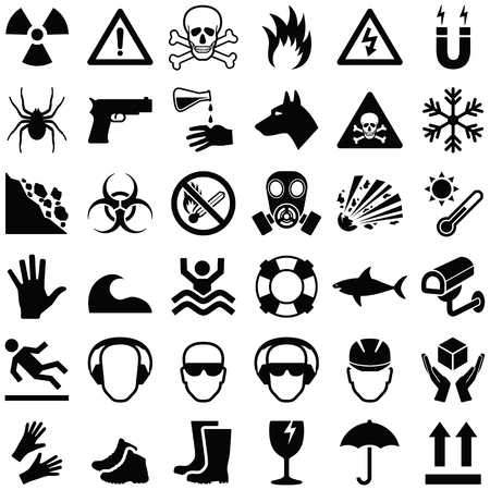 Danger and warning icon collection - vector illustration 向量圖像