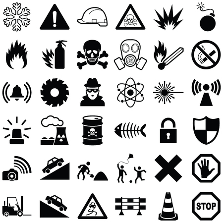Danger and warning icon collection - vector illustration Illustration