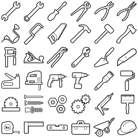Construction tool icon collection - vector outline illustration