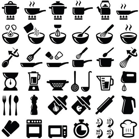 Kolekcja ikon gotowania i kuchni - sylwetka wektor
