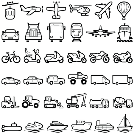 Transport icon collection - vector outline illustration 向量圖像