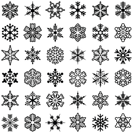 Snowflake icon collection - vector illustration