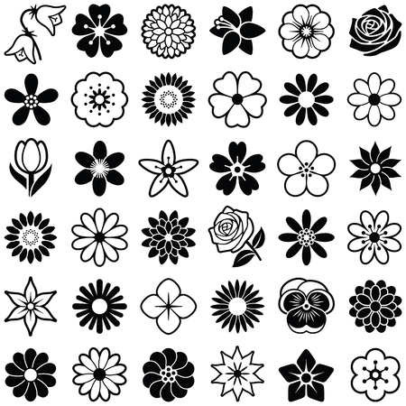Flower icon collection - vector illustration Иллюстрация