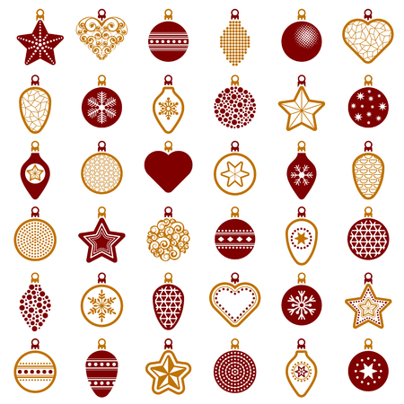 Christmas ball collection - vector illustration