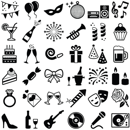 Party and Celebrate icon collection - vector silhouette