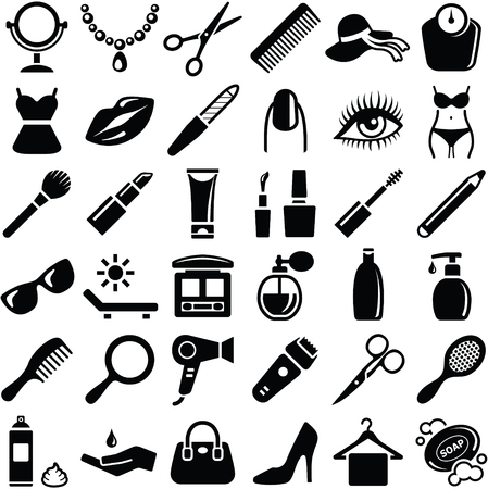 Beauty icon collection - vector silhouette