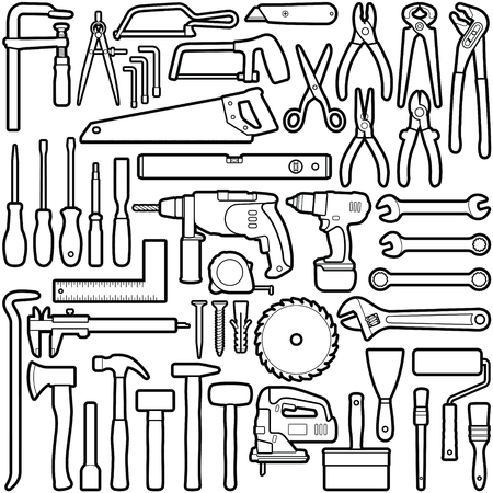 Construction tool collection - vector outline illustration Illustration