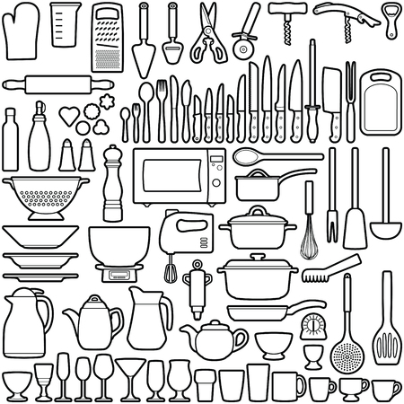 Kitchen tool collection - vector outline illustration