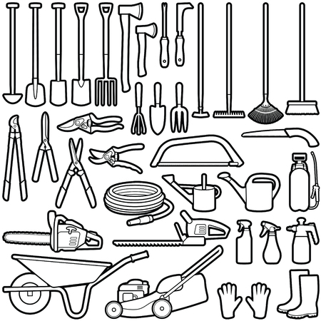 Gardener tool collection - vector outline illustration