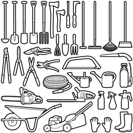 Gardener tool collection - vector outline illustration Stok Fotoğraf - 116908742
