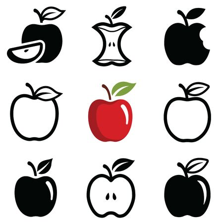 Apple icon collection - vector outline and silhouette Illustration