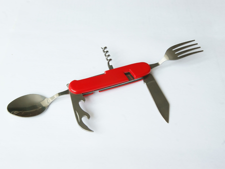 Foldable tourist knife, fork, spoon and corkscrew