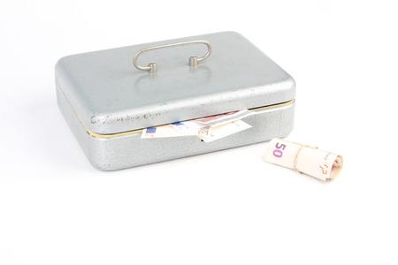 50 something: Money box with 50 euro and something Stock Photo