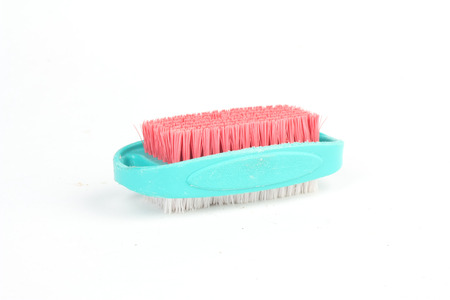 Blue white and red cleaning brush isolated on white background photo