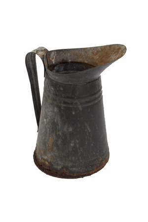 metalized: Rusty metal jug isolated on white background