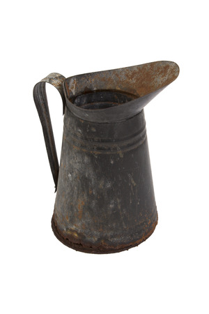 oxidize: Rusty metal jug isolated on white background