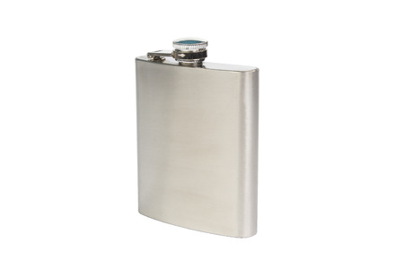 insulated drink container: Stainles steel flask isolated on white background Stock Photo