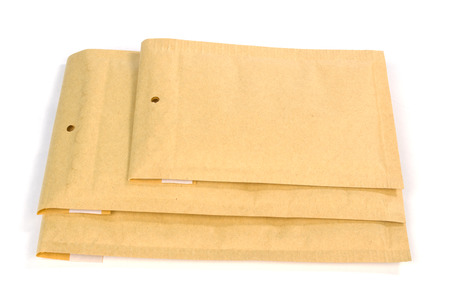 padding: Three different size bubble lined shipping or packing envelopes Stock Photo