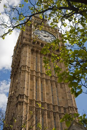 Low angle shot of Big Ben through a tree, showing greenleaves in the foreground Stock Photo