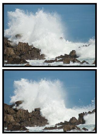 Double shot of waves crashing violently on big rocks making huge splashes, with blue skies baove and behind