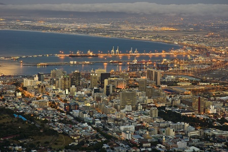 Cape Town city lights with the harbour at dusk