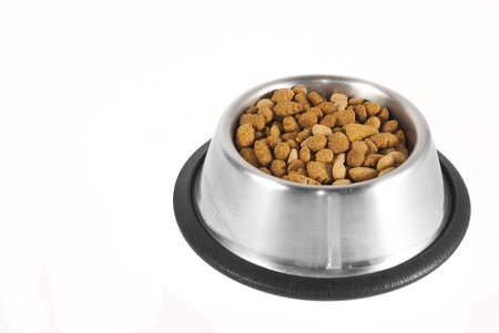 Silver bowl filled with dog-food on a white background
