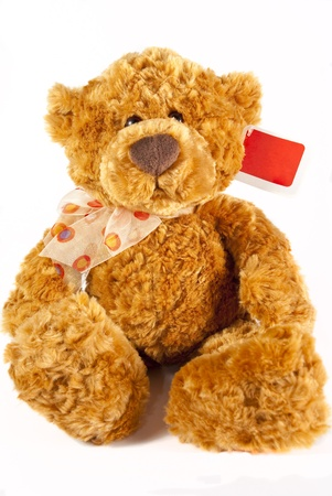 Brown teddy with a ribbon around its neck and a red tag  on a white background Imagens