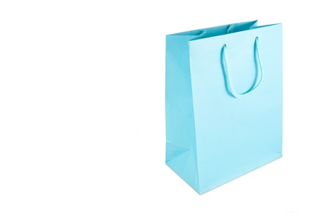 Light blue gift bag isolated on a white background