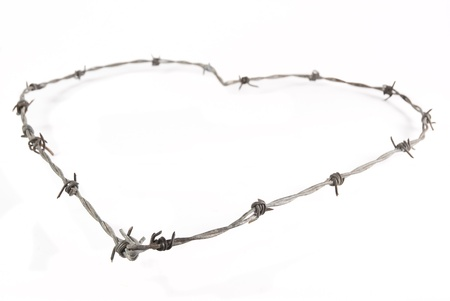 prickle: Heart shape made from barbed wire, isolated on a white background