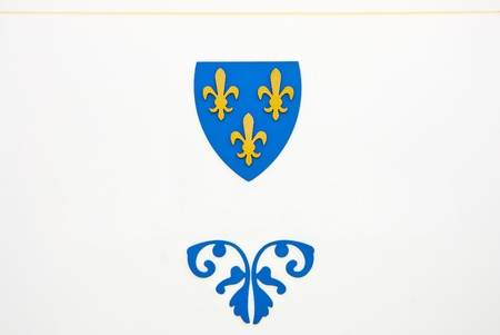 Blue and yellow emblem on a white wall photo