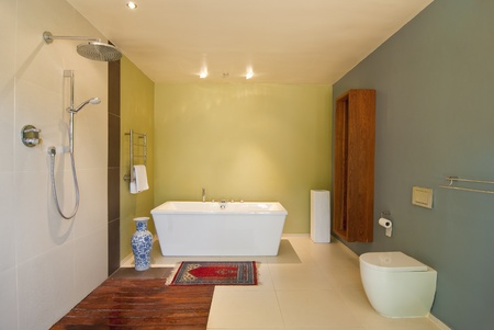 Modern bathroom with pastel coloured walls and white bath. Theres also a wood floored open shower Imagens
