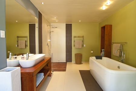 Modern bathroom with pastel coloured walls and white bath. Theres also a wood floored open shower photo