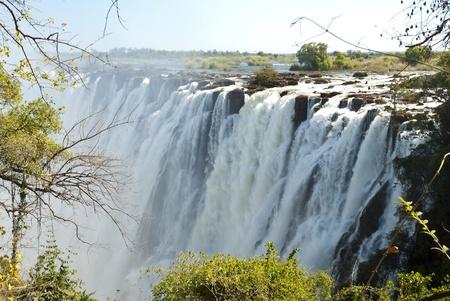zimbabwe: Victoria cascada con un poco de vegetaci�n en el primer plano y la sobrecarga de los cielos azules