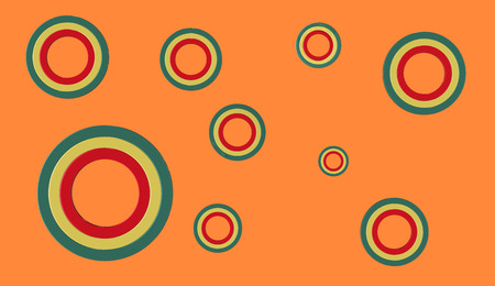 3D render of green yellow and red circles of various sizes on an orange background Stock Photo