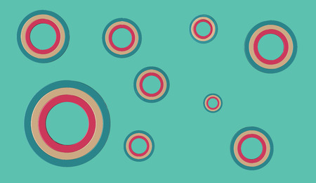 3D render of cyan orange and red circles of various sizes on a cyanteal background