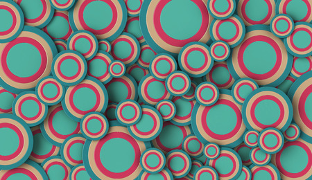 3D render of cyan and pink circles of various sizes filling the full frame
