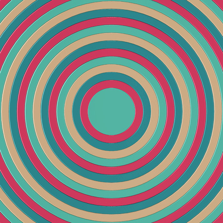 3D render of cyan, pink and blue concentric circles incresing in size, filling the entire frame Stock Photo