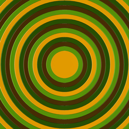 3D render of brown, green and yellow concentric circles incresing in size, filling the entire frame