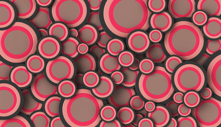 full frame: 3D render of pink and grey circles of various sizes filling the full frame