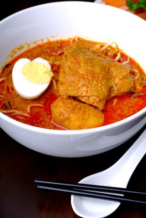 malaya: noodle with curry chicken - malaysian food Stock Photo
