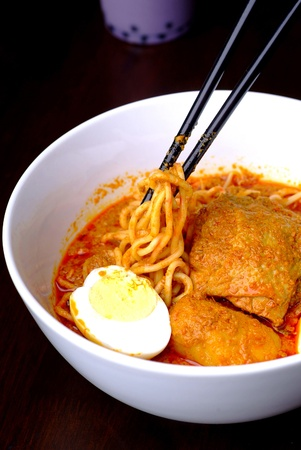 noodle with curry chicken - malaysian food photo