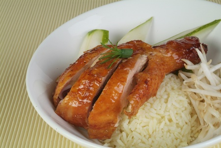baked chicken: Roasted chicken rice Stock Photo