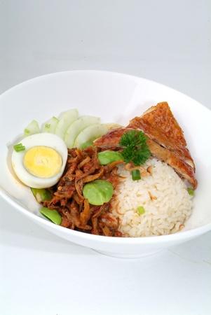 roasted chicken rice with sambal petai - malaysian food  photo