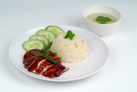 roasted chicken: roasted chicken rice - malaysian food